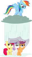 Dash lets it rain on the CMCs by BaumkuchenPony