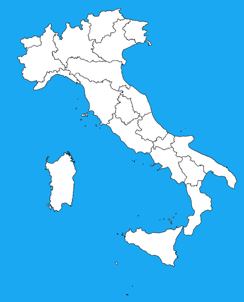 Blank Map Of Italy With Regions By Dinospain On Deviantart