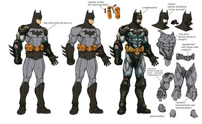 Arkham 'armored' Batman wips. by Chuckdee