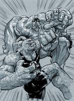 Hulk vs. Thing by Chuckdee