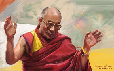 Dalai Lama portrait by bocho