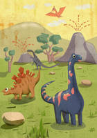 Children magazine illustration dinosaurs 2013 by bocho