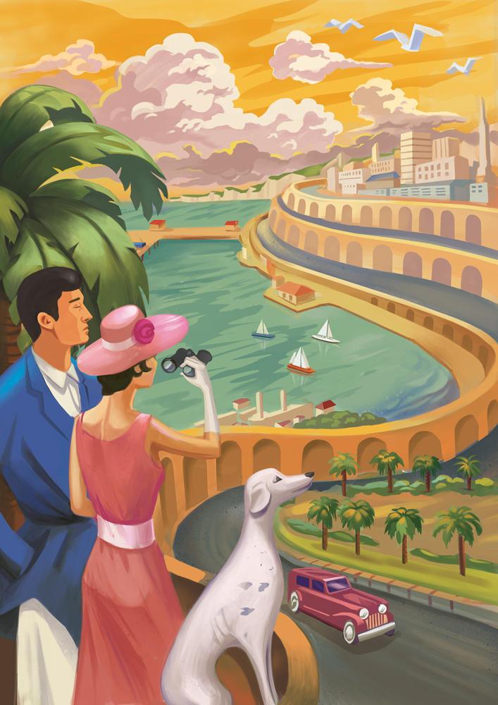Art Deco Landscape Poster by bocho