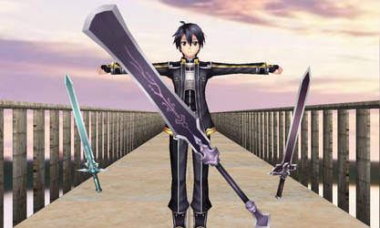 MMD : Sword Art Online Ripped : Kirito And 3Swords by Silver-Nova-07