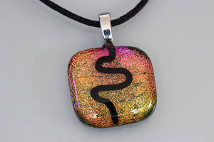 Black Wave on Dichroic Background pendant by Dimolicious