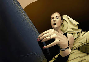 girl laying showing her nails by Aburto