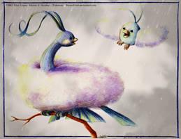 Altaria and Swablu - Pokemon by RavenEvert
