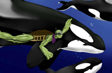 Swimming with orcas  by DigimonSaversLover