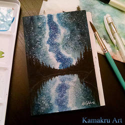Mini Watercolor - Night Sky 1 by Kamakru