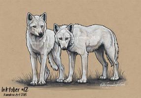 Inktober #12 - The White Wolves by Kamakru