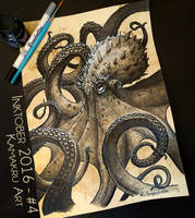 Inktober 2016 #4 - The Kraken by Kamakru