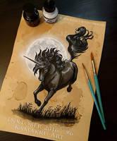 Inktober 2016 [Ink and Coffee] #6 - Black Unicorn by Kamakru