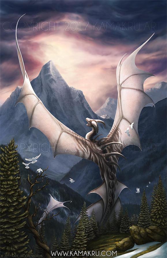 Mountaintop Dragon - The Setting Sun by Kamakru