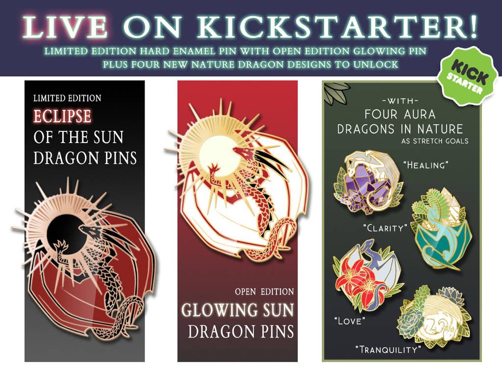 Eclipse, Sun Dragon with Aura Dragon enamel pins! by Kamakru