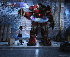 Robot in the rain.. by elianeck