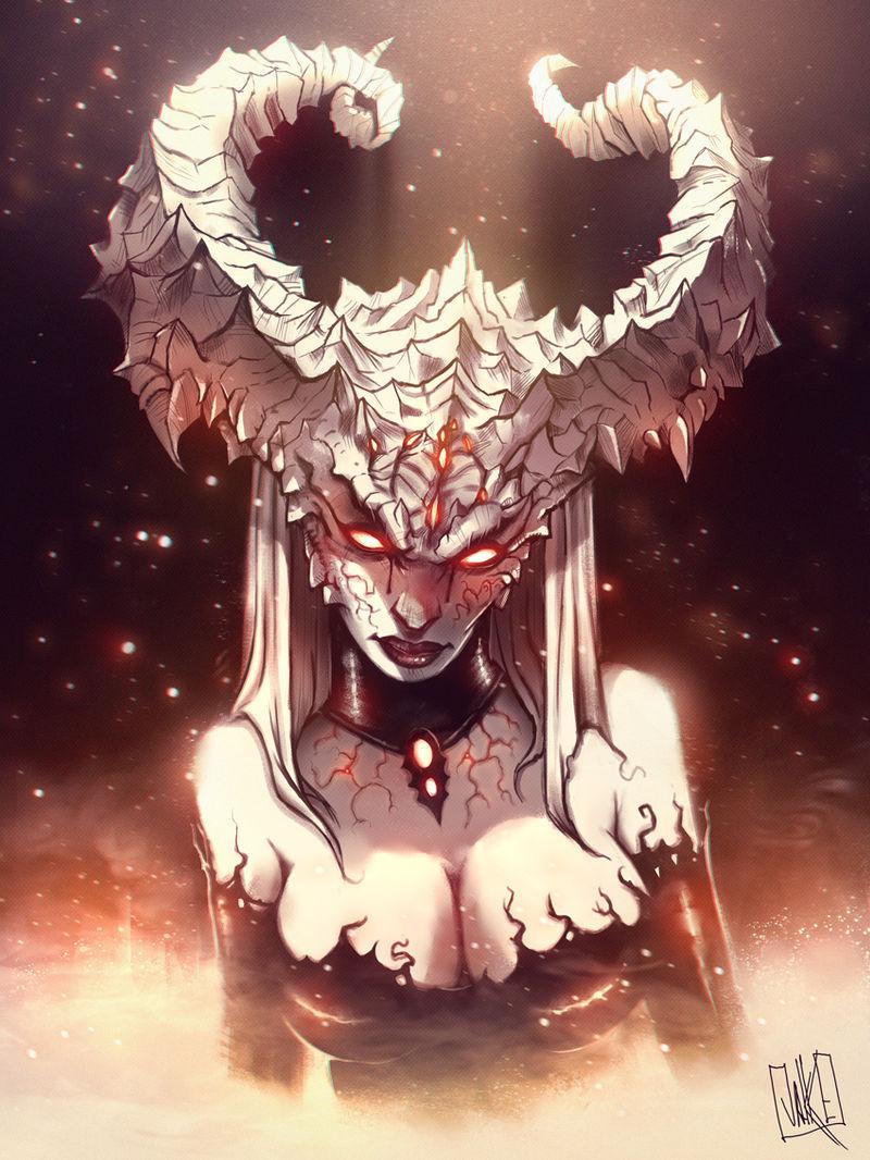 Demon Lady (color version) by JakkeV