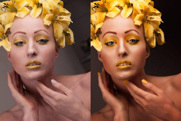 Beauty Retouching - Yellow Flowers BeforeAfter by amiah112
