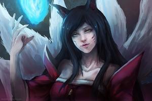 League of Legends: Ahri by darkshia