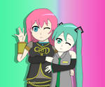 Megurine Luka And Hatsune Miku by LukaNightFever
