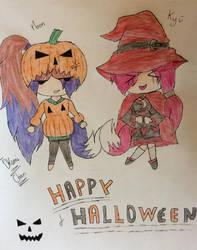 Kyu and MoonRise : Halloween Chibi by OkamiChan-Frisk