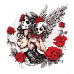 . skull girl . by slantypear