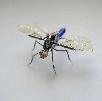 Popper, a mechanical dragonfly creature by AMechanicalMind