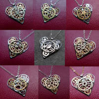 Watch Parts Heart Necklaces by AMechanicalMind