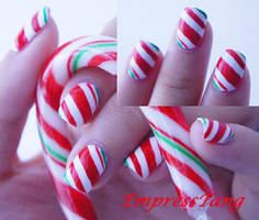 Christmas Candy Cane Nails 2 by EmpressTang