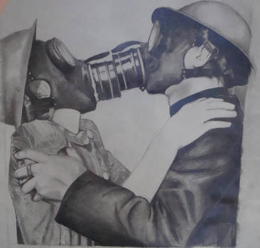 Gas Mask Kiss by StashaArt