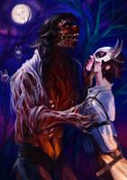 Werewolf and festive dinner by KatrinMirror
