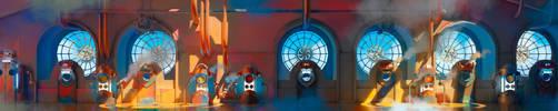 Steam Age-  airship hallway background by KuteynikovRoman