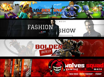 Youtube Banners COMMISSION Examples Part 1 by miyamotomusa