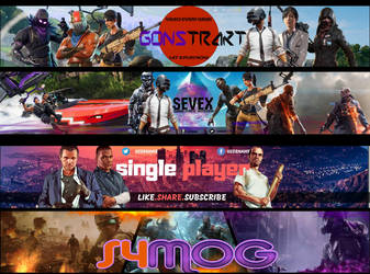 Youtube Banners COMMISSION Examples Part 2 by miyamotomusa