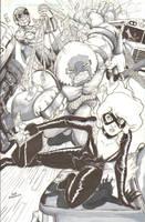Black Cat, Spider-Man, Juggernaut Pandemonium by TheWaywardSprocket