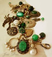 Green bronze charm bracelet by janedean