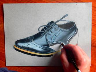 realistic shoe drawing. by Unfor-street-arT