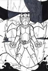 Inktober 2018-26 Agent Rex, Dragon Mode by ShadowEclipex