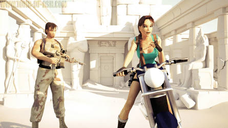 Lara Croft and Kurtis Trent raiding the Tomb of As by that-damn-ash-kid