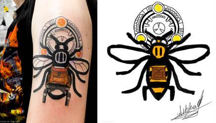 Lara Croft / Manchester Worker Bee Tattoo by that-damn-ash-kid