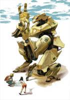 Kneeling Robot by LolosArt
