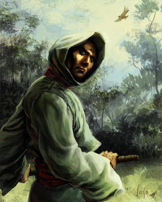 Hooded swordsman by LolosArt
