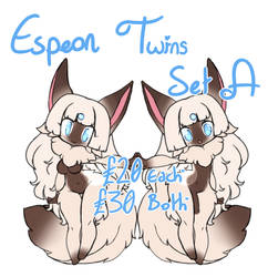 SOLD | PokeAdopts! | Espeon Twins Set A by Nykun