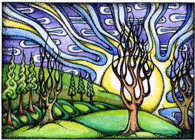 Treetastic day. ACEO by TapWaterTaffy