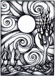 Swirly Moon Night ACEO by TapWaterTaffy