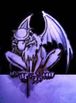 Gargoyle sketch black by braindeadmystuff