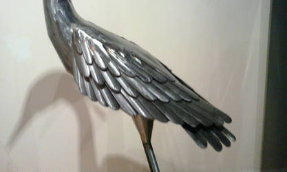 Heron garden sculpture stainless steel wing 2 by braindeadmystuff