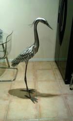 Heron garden sculpture stainless steel update 2 by braindeadmystuff