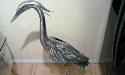Heron garden sculpture stainless steel update by braindeadmystuff