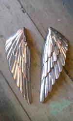 Heron garden sculpture stainless steel wing by braindeadmystuff