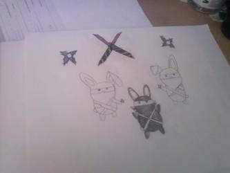 ninja bunnies by Darkfairydreams